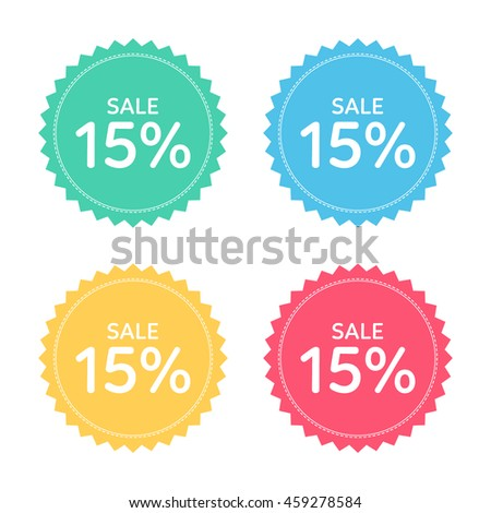 price badge icon. discount 15% percent.