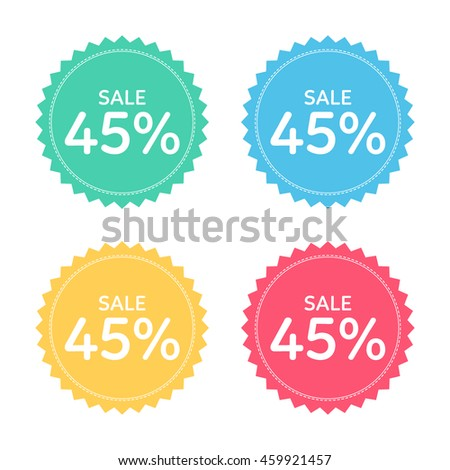 price badge icon. discount 45% percent.
