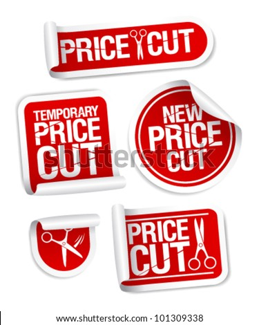 Price cut sale stickers. - stock vector