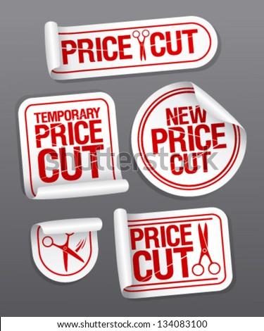 Price cut sale stickers. - stock vector
