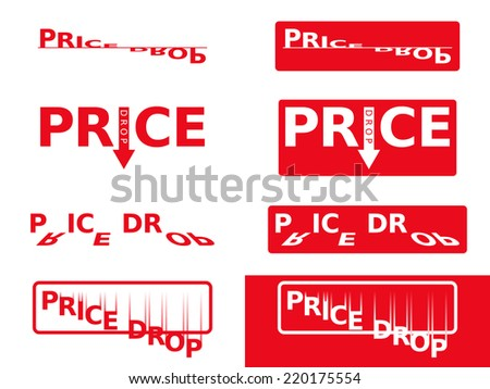 Price Drop Flat Color Stickers - stock vector