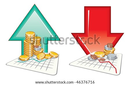 Price going up and down.vector detailed icons - stock vector