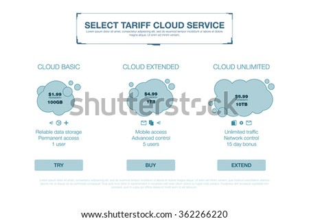 Price list, cloud plans and web boxes banners design. three tariffs. interface for the site. ui ux vector banner for web app.