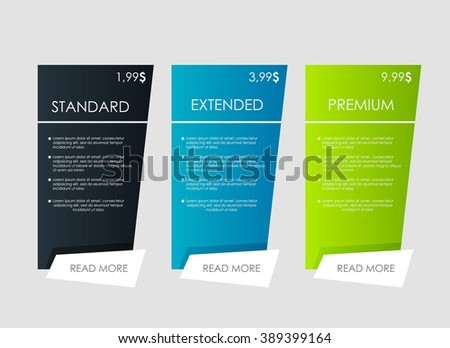 Price List, Hosting Plans And Web Boxes Banners Design. Three Tariffs.  Interface For