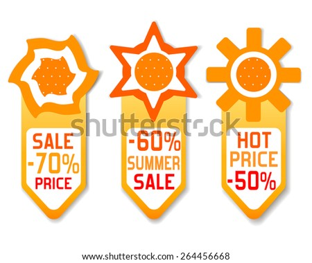 Price lists discount sun plate spring summer sale hot   - stock vector