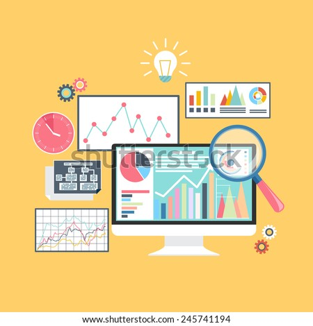 Price movement. Stock exchange rates on monitors. Profit graph for diagram. Electronic stock numbers. Profit gain. Business stock exchange. Live online screen. Flat icon modern design style concept  - stock vector