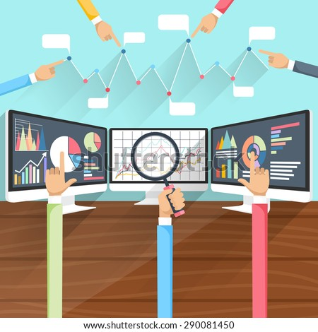 Price movement. Stock exchange rates on monitors with hands. Profit graph for diagram. Electronic stock numbers. Profit gain. Business stock exchange. Live online screen. Flat icon modern design - stock vector