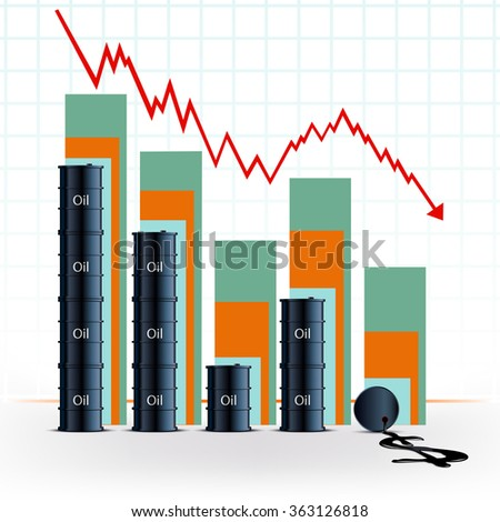 price of oil. Barrels with fuel and financial chart. Stock vector illustration. - stock vector