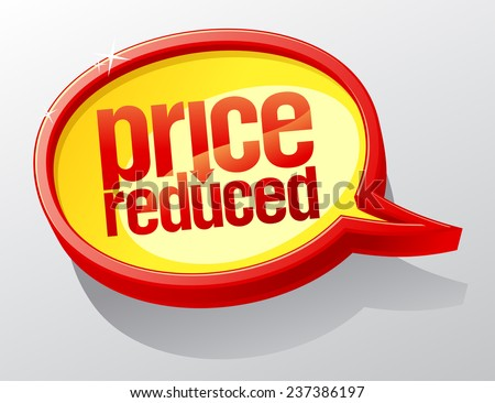Price reduced golden speech bubble.