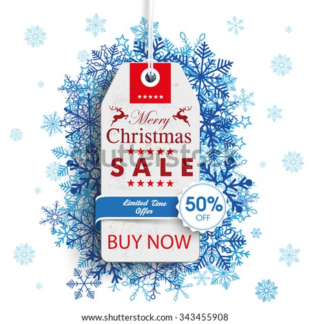Price sticker with emblem for the christmas sale on the gray background. Eps 10 vector file. - stock vector