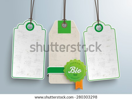 Price stickers with bio label. Eps 10 vector file.