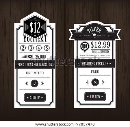 Price table vintage web and print design on wooden background - stock vector