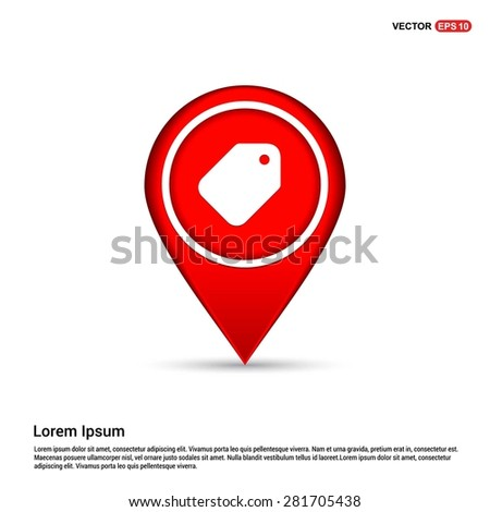 price tag icon - abstract logo type icon - white icon in map pin point showing Sale Shop concept red background. Vector illustration - stock vector