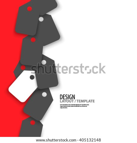 Price Tag Icon with Red Design/Layout Background - stock vector