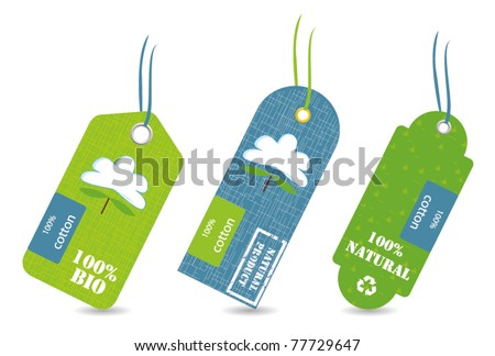 price tag natural cotton - stock vector