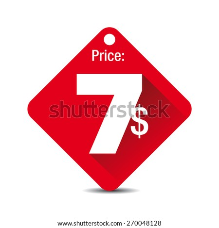 Price tag vector  - seven dollars