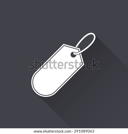 Price tag - white icon with a long shadow on a black background. Vector illustration.