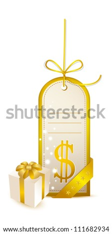 Price tag with a dollar symbol and gift - stock vector