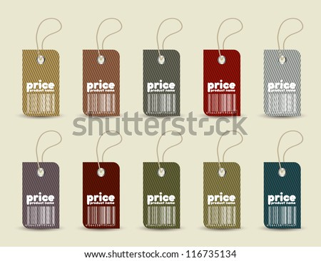 Price tag with retro pattern in editable vector format - stock vector
