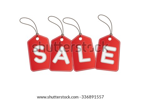 "Price tags and message ""SALE"" on white background"