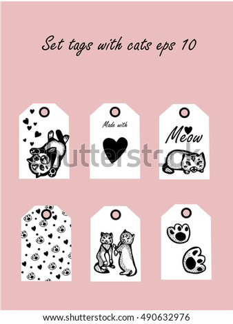 price tags sale cute kittens collection stock vector 490632976