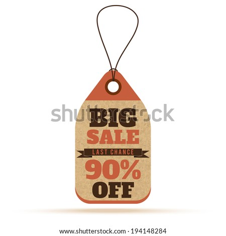 Price tags in vintage style. Big sale tags, labels with text and number percent - stock vector