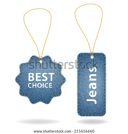 Price tags of denim fabric texture background, Vector illustration modern template design - stock vector
