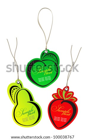 price tags of fruits