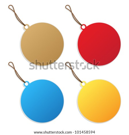 Price tags, round shape collection over white background - stock vector