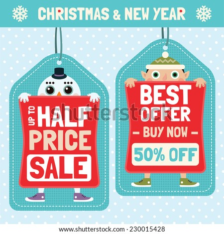 Price tags with Christmas characters. Vector set 2.  - stock vector