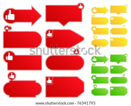 Price Tags with Thumb Up Sign - stock vector