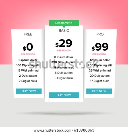 Pricing Business Plans Vector Pricing Plans Stock Vector