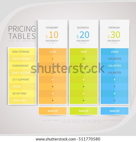 it service cost model template - pricing comparison table set commercial business stock