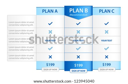 Pricing List with 3 Versions Comparison - stock vector