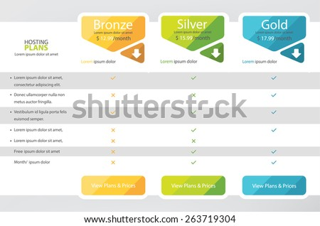 Pricing plans, boxes, table for websites and applications. Hosting banner. Vector illustration - stock vector