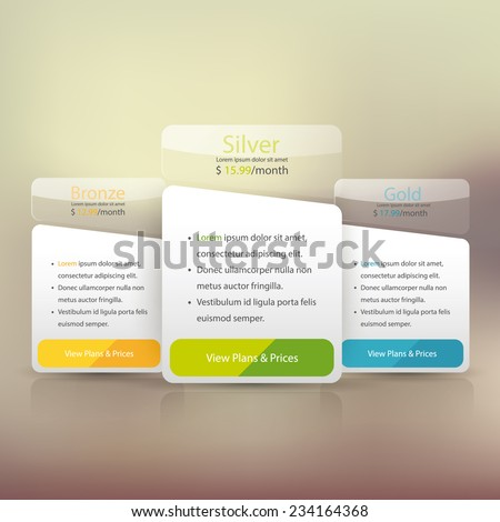 Pricing plans for websites and applications. Hosting banner. Vector illustration - stock vector