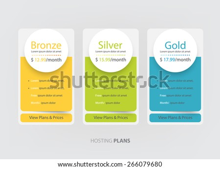Pricing plans, table for websites and applications. Hosting banner. Vector illustration - stock vector