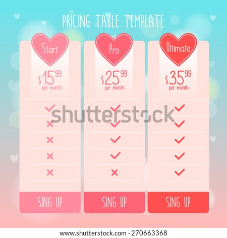 Pricing Table Template with cute hearts and Three Plan Type - Start Pro and Ultimate Graphic Design in vector. - stock vector