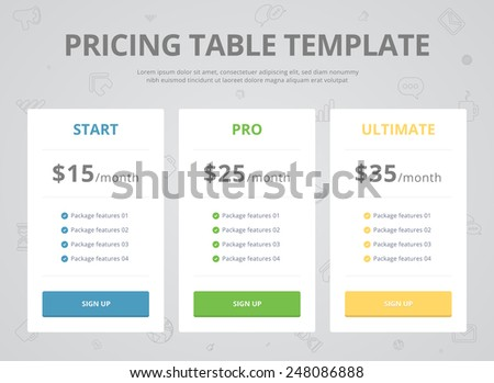 Pricing Table Template with Three Plan Type - Start Pro and Ultimate Graphic Design on Gray Background - stock vector