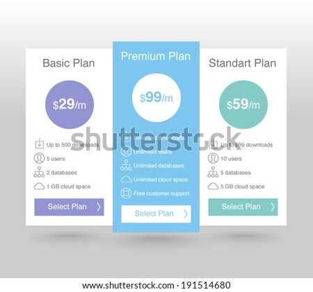 Pricing Tables - stock vector