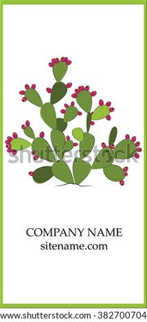 Prickly pear business card design. - stock vector