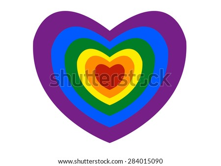 Pride or LGBT Heart Logo Design Isolated on White Background.  Editable Clip Art Illustration. - stock vector
