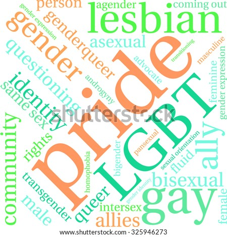 Pride word cloud on a white background.