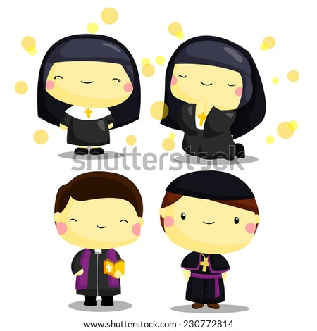 Priest and nun - stock vector