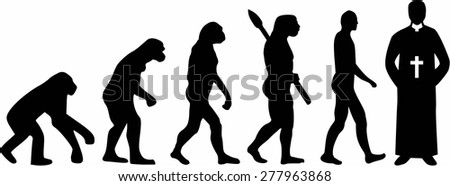 Priest Pastor Evolution - stock vector