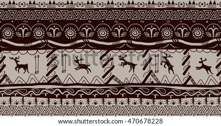 primitive folk scandinavic border seamless pattern