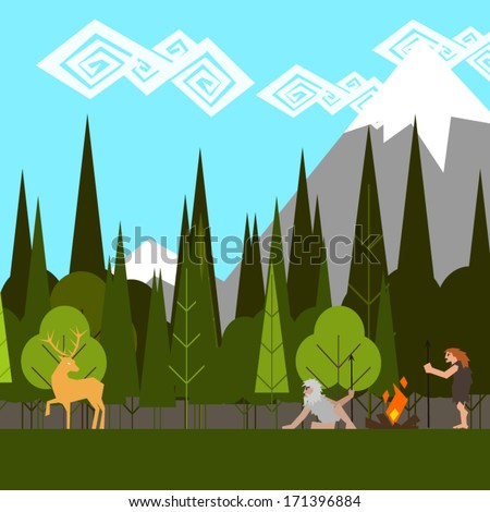 primitive hunting in the woods flat style vector - stock vector