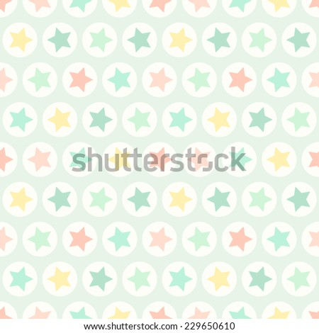 Primitive retro seamless pattern with stars and circles in pastel colors ideal for baby shower - stock vector