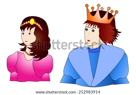 Prince and princess -Handsome prince and pretty princess - vector illustration  - stock vector
