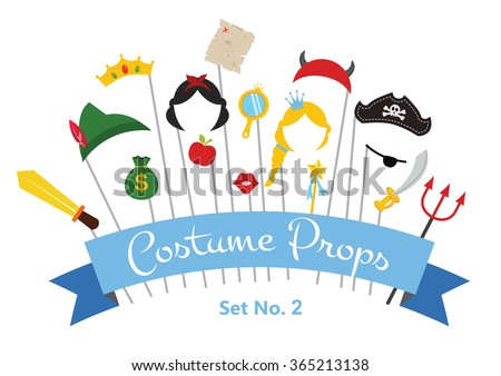Prince and Princess Party set - photobooth props - mustaches, wigs and objects - vector  - stock vector